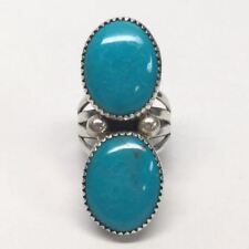Cabochon Ring, Size 7 1/4 Navajo Sterling Silver Double Turquoise