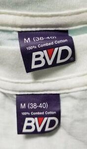 Vtg 80s BVD Blank Plain White V Neck t shirt Medium Lot of 2 100% combed cotton