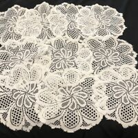 "Vintage Crocheted Lace Doilies Matching Set of 10 White 12"" Rd Floral Pattern"
