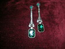 VINTAGE ANTIQUE EMERALD GREEN DIAMOND PASTE ART DECO COSTUME JEWELRY EARRINGS