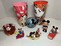 Disney Mickey & Minnie Mouse Vintage Wind Up Toys, Figurines CUPS & RARE BALL