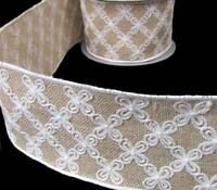 White Flower Embroidered Wedding Rustic Primitive Burlap Jute Wide Wired Ribbon