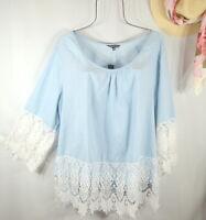 New Women's Summer Blue Crochet Lace Boho Tunic Peasant Top Blouse Shirt 3X NWT