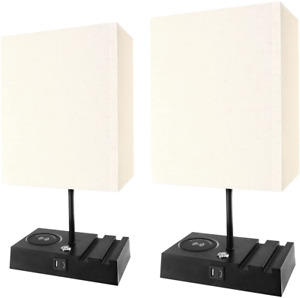 Banord 2 Pack Table Lamp, 3 Way Dimmable Desk Lamp with 1 USB Port and 1 Type C