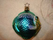 Old World Christmas Tropical Puffer Fish Green & Blue Ornament