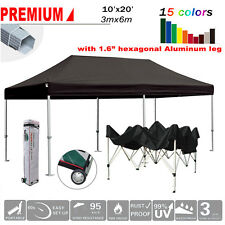 New listing 10X20 Black Ez Pop Up Canopy Commercial Outdoor Party Marquee Tent w/Wheeled Bag