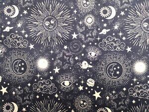 0.5M Dark Blue Zodiac Digital Print Fabric Material Cotton Patchwork Crafts 1/2M