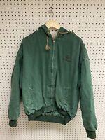 Vintage John Deere Green Zip Up Hooded Workwear Jacket Size XL