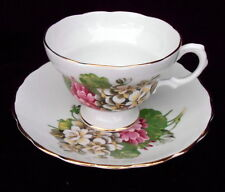 ENGLISH Bone China Hydrangea FOOTED Tea Cup & Saucer Gold Trim Pink on White