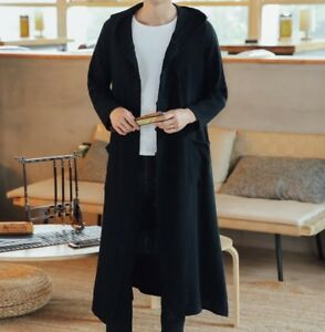 Mens Chinese Hooded Jacket Retro Tang Tops Outwears Plus Size Oversize Overcoat