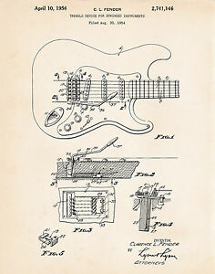 1956 Stratocaster Art Fender Poster Patent Drawing Guitar Gifts Guitar Players