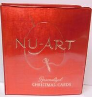 Old Retro Vintage 1972 NU-ART CHRISTMAS CARDS SALESMAN SAMPLE RED BOOK 60 PAGES