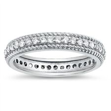 Rope Chain Clear CZ Wedding Eternity Ring .925 Sterling Silver Band Size 5-10
