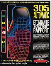 Publicité Advertising 1984 La Peugeot 305 Automatic