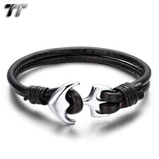 TT Black Genuine Leather 316L Stainless Steel Anchors Bracelet (BR222) New