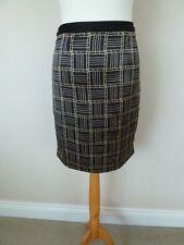 FAB Reiss Black Gold Geometric Print Silk Knee Length Pencil Skirt Size 8 VGC