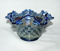 Fenton Open Edge Carnival Glass Bowl Iridescent Art Basket Weave