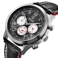 BENYAR Date Quartz Men Watch Pilot Analog Sport Genuine Leather Band Luxury Gift