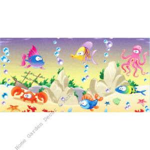 "TOP FIN Kids Fish Rock Small Aquarium Background Static Aqua Cling Film 12""x24"""