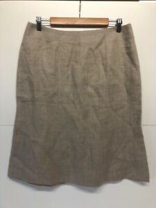 Hobbs Ladies Beige 100% Linen Straight Skirt UK 14    A48