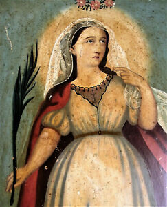 Antique SANTA LUCIA Spanish SAINT LUCY OIL PAINTING WOOD PANEL PAINTED BOARD