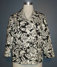 STUDIO WORKS Black White Floral Print Cotton Button Front Jacket Blazer PL /  L
