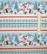 Christmas Fabric - Holiday Polar Bear & Woodland Critter Stripe - Avlyn YARD