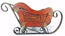 Vintage Metal & Wood Sleigh / Santa / Christmas / Planter