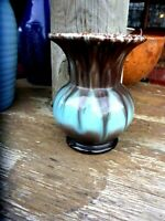 WEST GERMAN PALE BLUE & BROWN POTTERY RETRO  VASE 13CM tall 10CM MOUTH