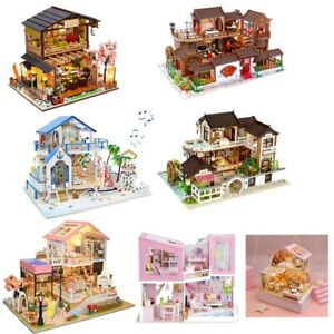 DIY Wooden Miniature Dollhouse Villa Model With Furniture Kid Toy Christmas Gift
