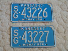 PAIR OF ANTIQUE 1967 KANSAS LICENSE TAGS/PLATES - #43226 & 43227   MIDWAY USA