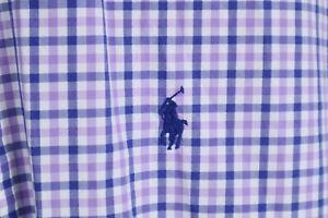 Ralph Lauren Mens sz Large Purple White Gingham Check Long Sleeve Shirt