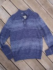 MEN'S GREY INDIGO CONVERSE ONE STAR SWEATER 4-BUTTON FRONT LONG SLEEVE SIZE S