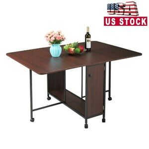 Folding Dining Table Craft Table w/Wheels for Kitchen Dining Room Saving Space