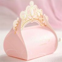 10Pcs Romantic Pink Crown Candy Boxes Bags Birthday Party Favor Gifts Wedding