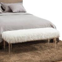 Linon Ella Acrylic Leg Upholstered Bench Platinum Ebay