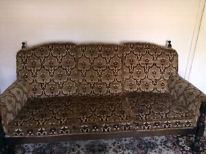 Vintage 1970s Cottage Style 3 Seater Wooden Sofa -  Plus One Chair