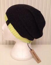 BNWT River Island Ladies Oversize Beanie Hat Black Fluro Yellow Angora Mix
