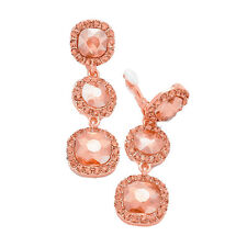 Peach Clip on Earrings Dangly Drop Prom Bridal Gold Tone Long Sparkly 0394