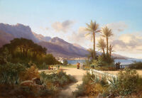 Oil painting stunning summer landscape by Mediterranean with Sisal on canvas