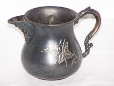 Vintage Antique Middletown Plate Co Creamer Pitcher Etched Floral ca late 1800's
