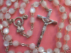 """Catholic Rosary Cute 5mm PEARLY WHITE lucite beads 17 1/2"""" length Italy"""