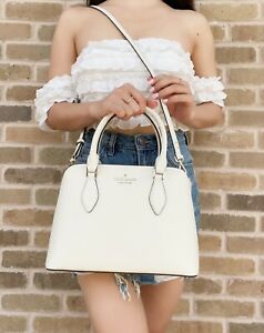 Kate Spade Darcy Small Top Zip Satchel Crossbody Shoulder Bag Parchment Leather