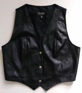 Wilson's Half Leather Black Snap-Up Vest, Men's XL