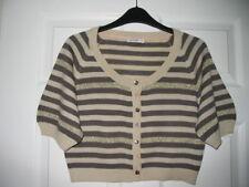 Beige Brown & Glittery Gold Striped Bolero by VILA ~ Size L