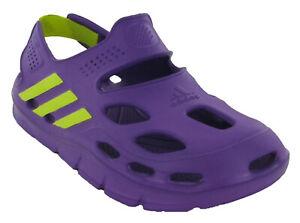 Adidas KIDS VariSol Sandals Lightweight Beach Shoes Purple/Yellow UK12K - UK13K