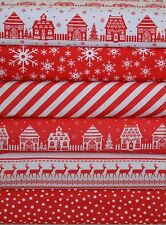 CHRISTMAS FABRIC BUNDLE REMNANTS SQUARES RED & WHITE NORDIC SCANDINAVIAN 6 PIECE