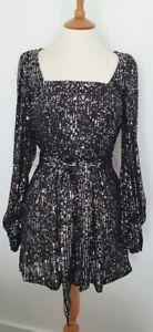 ZARA - BLACK COCKTAIL DRESS WITH SILVER SEQUINS - EUR: MEDIUM - EXCELLENT COND