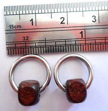 Surgical Steel Cartilage Helix Earrings Hoops Rings Wooden 14 gauge 14g