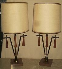 VINTAGE PAIR RETRO DANISH MIDCENTURY ATOMIC STILNOVO LAUREL ERA TABLE LAMP